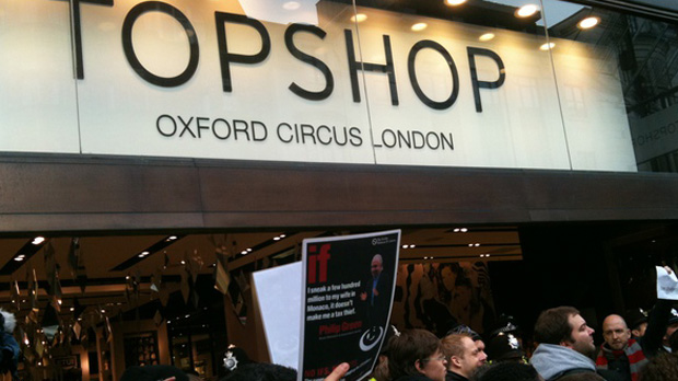 Topshop protests over Sir Philip Green taxes. (via Twitter)