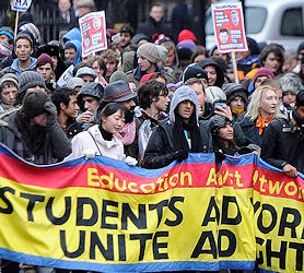 Students protest in London over tuition fees (Reuters)