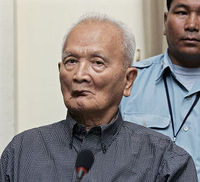 Nuon Chea, Pol Pot's right hand man of the Khmer Rouge regime, sits in the dock during his first public appearance at ECCC in Phnom Penh 4 Feb 2008