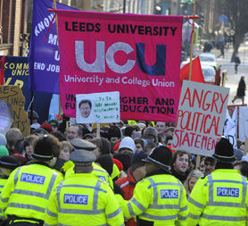 Students protest over tuition fees (Reuters)