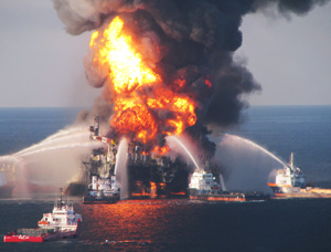 the explosion at BP's Deepwater Horizon rig (getty)