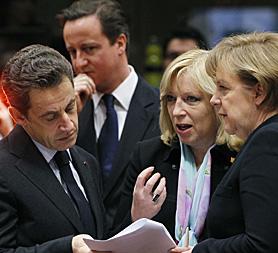 David Cameron with French President Nicolas Sarkozy, Slovakian Prime Minister Iveta Radicova and German Chancellor Angela Merkel at the EU summit in Brussels (Reuters).