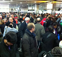 Passengers queuing at Heathrow's terminal 3 (picture by Paul Lomax)