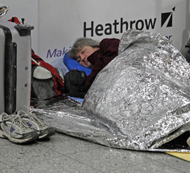Passengers are stuck in UK airports due to the snow chaos (Reuters)