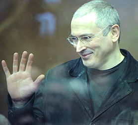 Mikhail Khodorkovsky, former CEO of Russian oil group Yukos, on trial in Moscow (Image: Getty)