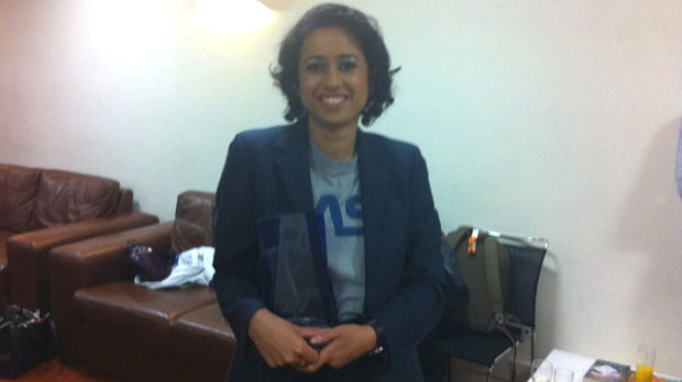 Channel 4 News presenter Samira Ahmed in the green room of Celebrity Mastermind