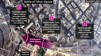 The Egypt protests have focused around Tahrir Square with anti-Mubarak protestors besieged by government loyalists. Channel 4 News lays out the key areas of the battleground.