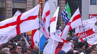 Far-right English Defence League (EDL) demonstrators protest in Luton