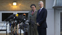 WikiLeaks founder Julian Assange and lawyer Mark Stephens speak to the media as they leave Belmarsh Magistrates Court in east London (Reuters)