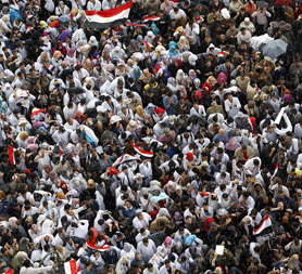 A section of the c rowd in Tahrir Square (Reuters)