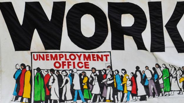 Unemployment protest banner (Reuters)
