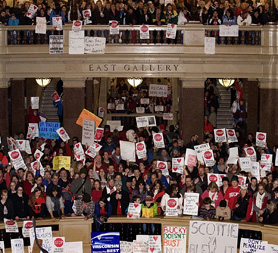 Protesting public workers occupy the Wisconsin State Senate (Getty)