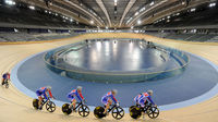 Britain's top cyclists try out the Olympic Velodrome (Getty)