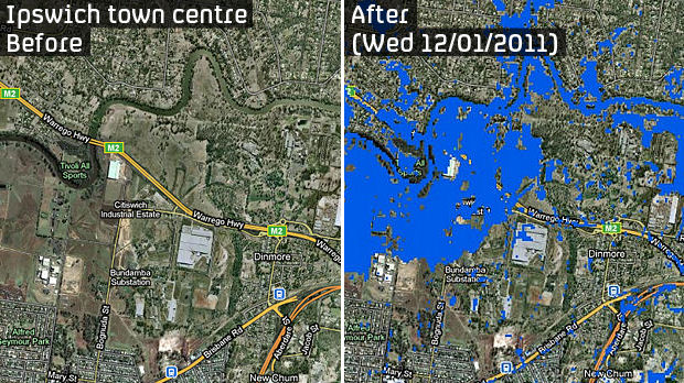 Australia floods - Ipswich before and after
