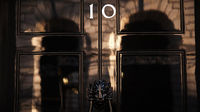 The front door of 10 Downing Street is pictured in London, on May 5, 2010. (Getty images)