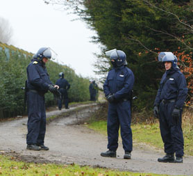 Prison violence: riot officers outside HMP Ford in West Sussex.