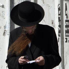 Israeli man on mobile phone