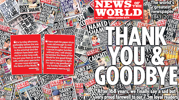 News of the World final edition: Thank you and Goodbye