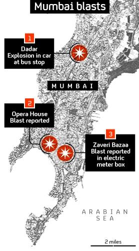 Three blasts hit Mumbai, India's financial capital