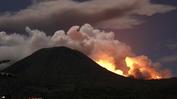 Mount Lokon in Sulawesi, Indonesia which has erupted (Reuters)