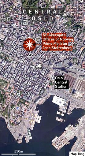 Map of explosion site in Oslo (Channel 4 News)