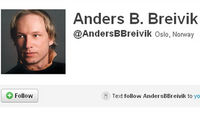 The Twitter profile of Anders Behring Breivik who is accused of killing scores of people in twin attacks in Norway