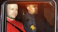 Norway gunman Anders Behring Breivik leaves court. (Reuters)
