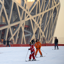 Bird's Nest as a snow dome (Getty)