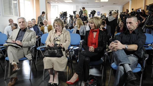Families of AF 447 crash victims at the press conference (Getty)