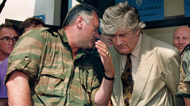 Mladic with Serb leader Radovan Karadzic in 1993 (Getty)