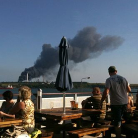 Explosion: Chevron oil refinery in Pembroke Dock. (Picture: Twitter)