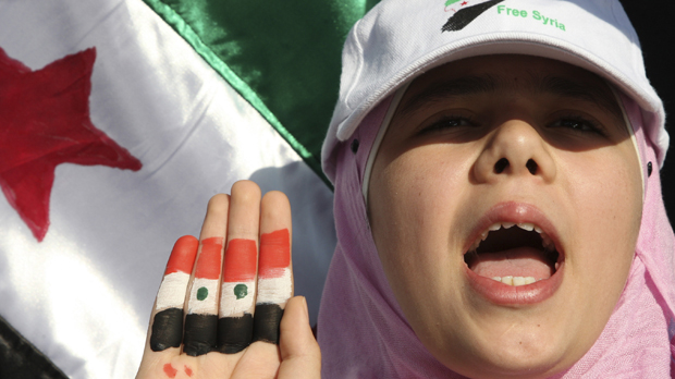 A Syrian protester (reuters)