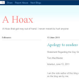 Blog hoax exposed (Gay Girl in Damascus site)