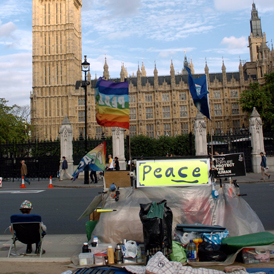 Brian Haw's peace camp outside Parliament Square (Getty)