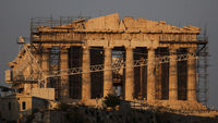 Greek debt crisis: scaffolding surrounds the Acropolis.