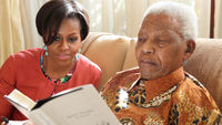 Michelle Obama has met Nelson Mandela during a trip to South Africa
