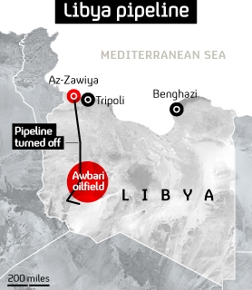 Libya graphic showing Az-Zawiya, Tripoli and the Awbari oilfield