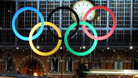 Olympic logo at St Pancras station in London. (Getty)