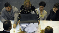 Officials count votes at the Barnsley Central by-election (Reuters)