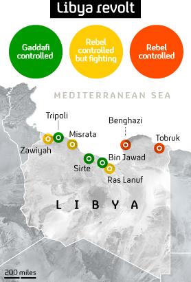 Libya map: the flashpoints as Gaddafi hits back at rebels.