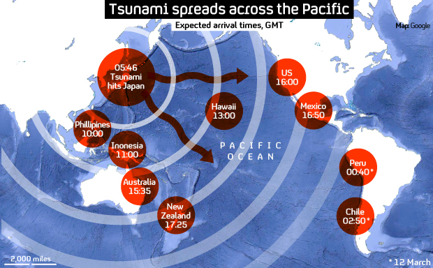 Map of the spread from tsunami