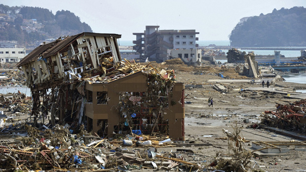 Buildings destroyed by a tsunami in Minamisanriku. (Reuters)