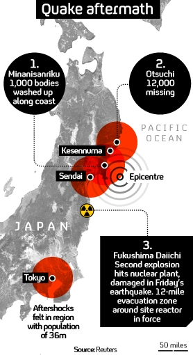 Graphic: Japan's worst-hit areas following the quake and tsunami.