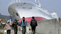 Japan disaster:  boat displaced in Kesennuma. (Reuters)