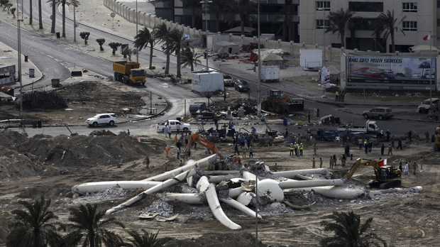 With the statue gone, the Bahrain authorities hope to show they mean to do all it takes to discourage protestors from gathering in the area. (Reuters)