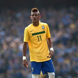 Brazil's Neymar reacts during their international friendly soccer match against Scotland at the Emirates Stadium in London