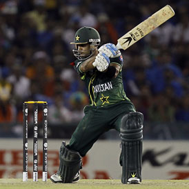Pakistan's Hafeez plays shot during their ICC Cricket World Cup 2011 semi-final match against India in Mohali
