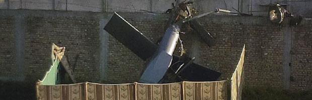 Bin Laden death: crashed helicopter in Abbottabad.