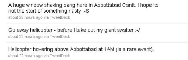 Bin Laden death: Sohaib Athar's Twitter posts.