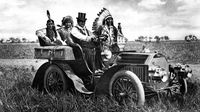 Top-hatted Chiricahua Apache chief Geronimo driving a motor car in Oklahoma (Getty)